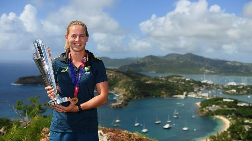 Meg Lanning, Captain of Australia poses with the trophy during the Winning Captain's Photocall - ICC Women's World T20 2018 at Shirley Heights Lookout on November 25, 2018 in Antigua, Antigua and Barbuda.