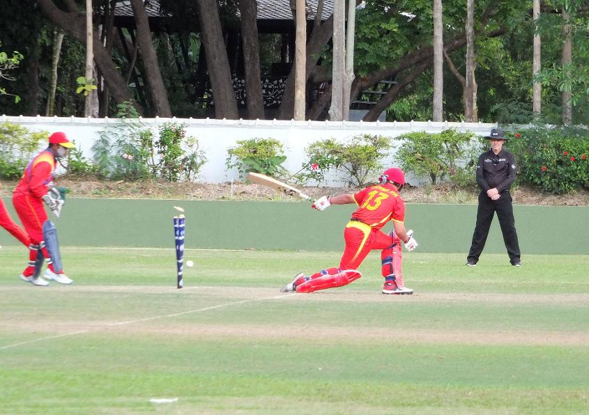 China were bowled out for 56
