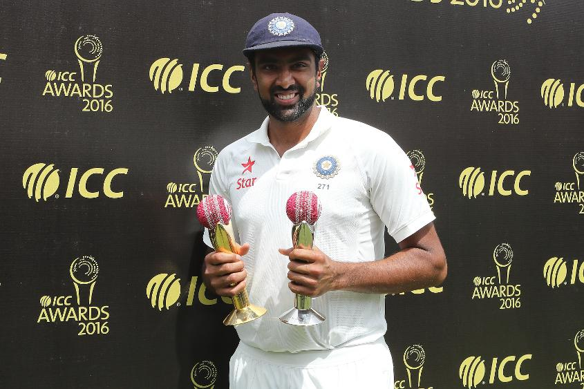 Ravichandran Ashwin with his ICC Awards 2016