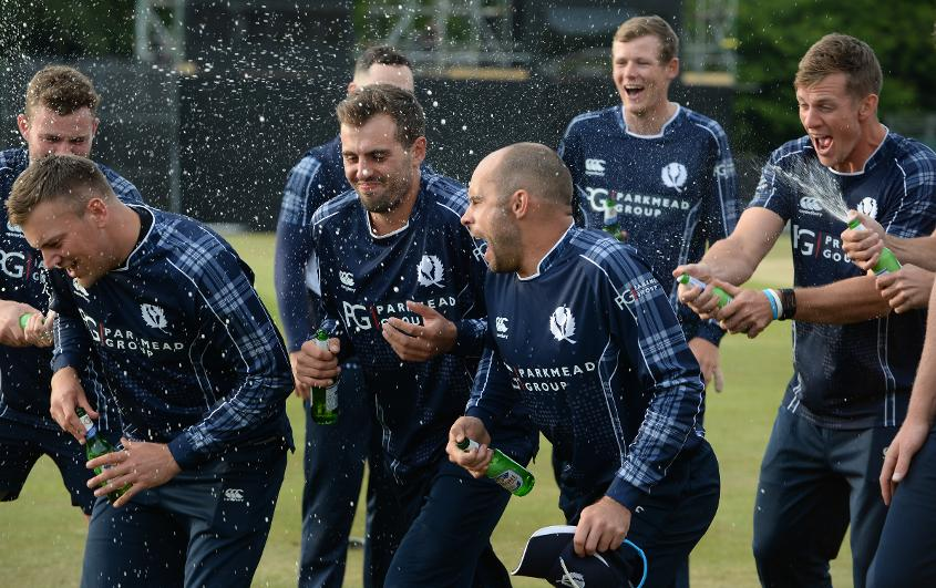 Scotland celebrate their win over England