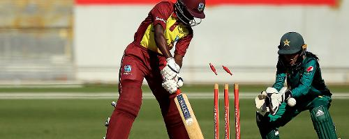 Kycia Knight was bowled by Sana Mir