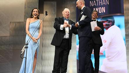 For his sterling performances with the red-ball, Nathan Lyon was crowned the Test Player of the Year