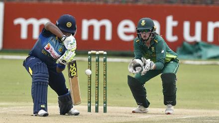 Sri Lanka Women's Chamari Athapaththu plays in the first one-day international against South Africa Women