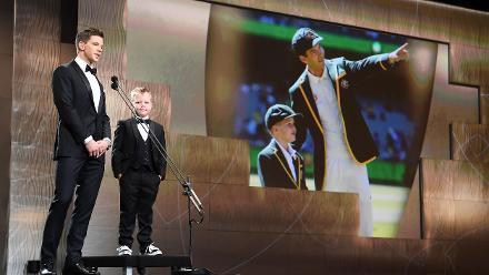 Australia Test captain Tim Paine with Archie Schiller during the 2019 Australian Cricket Award