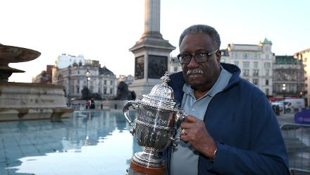 Former West Indies World Cup-winning captain Clive Lloyd poses with The Prudential Cup