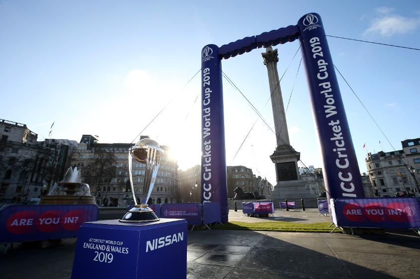 The ICC Cricket World Cup Trophy in Trafalgar Square