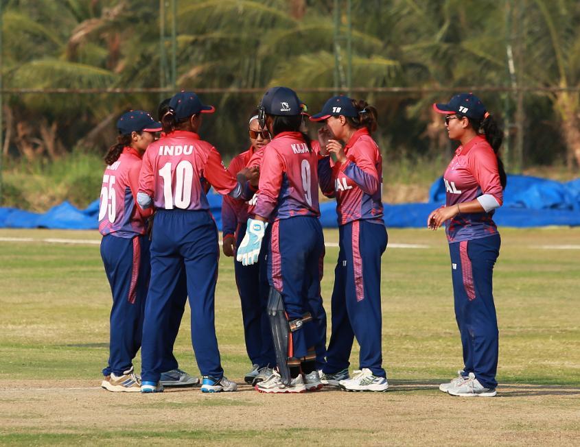 Nepal Women celebrate a wicket