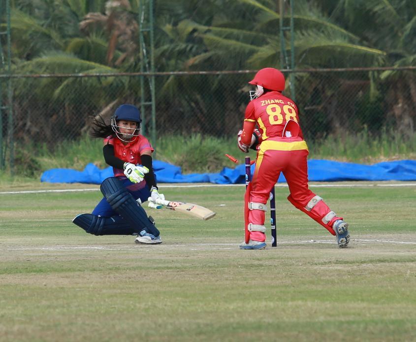 China Women take a stumping in their match versus Nepal