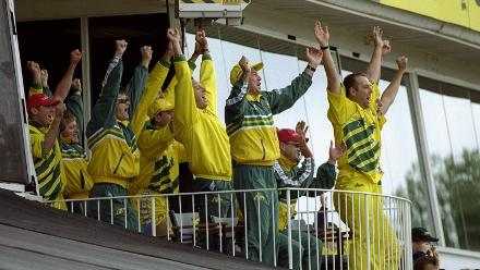 Australian celebrations in the balcony: a common scene at the World Cups.