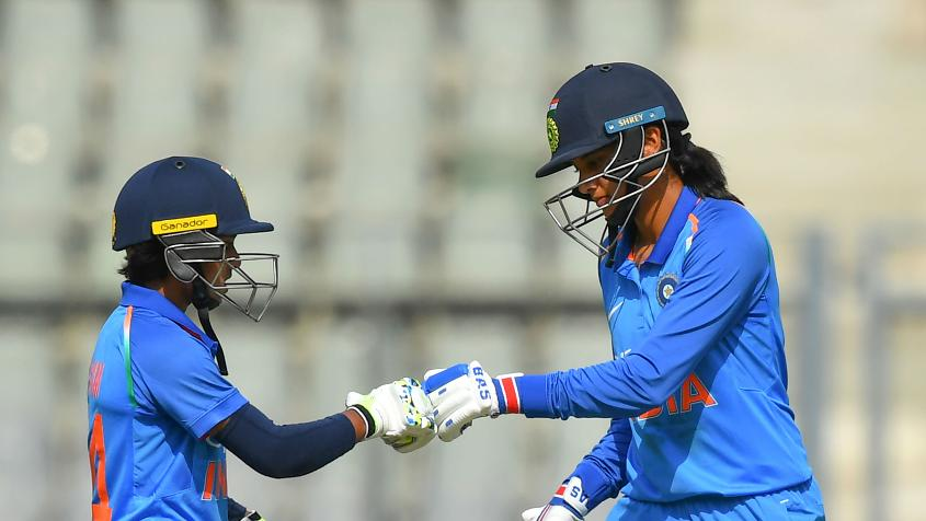 Punam Raut and Smriti Mandhana forged a solid 129-run partnership for the second wicket. – Photo: AFP