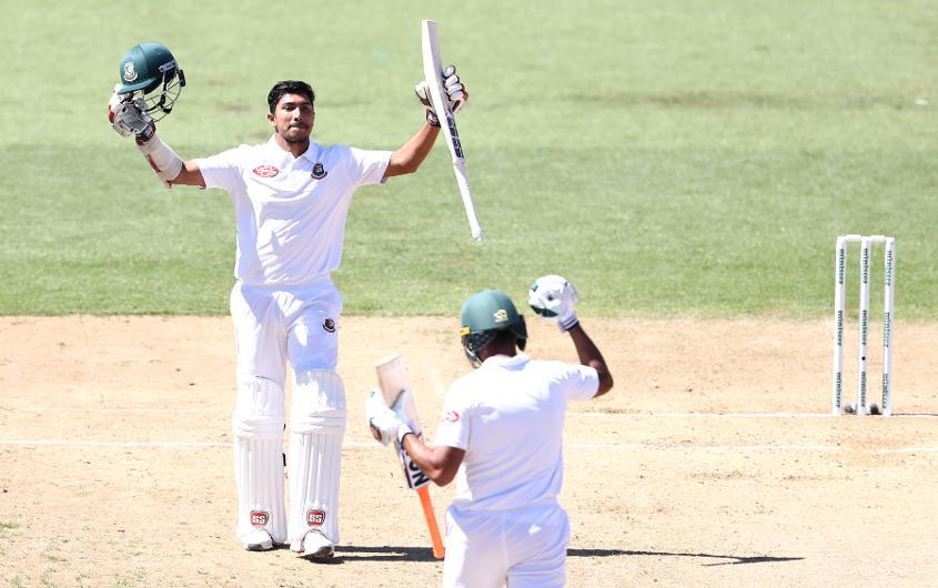 Soumya Sarkar soaks in the applause after his maiden Test ton