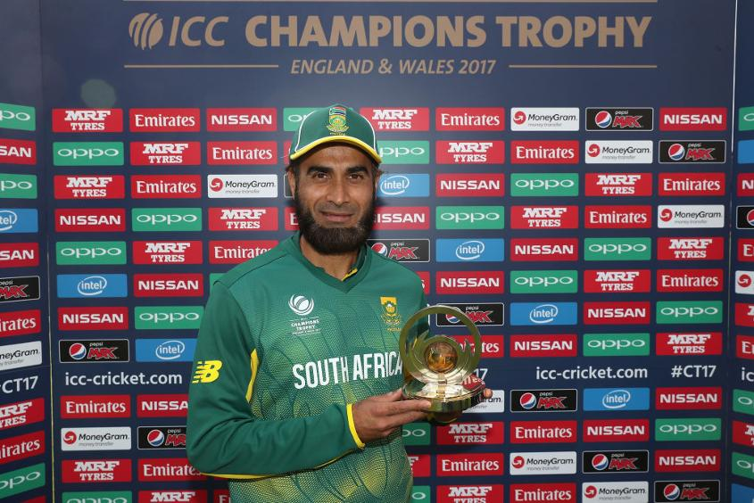 Imran Tahir with his Man of the Match award during the ICC Champions Trophy Group B match between Sri Lanka and South Africa