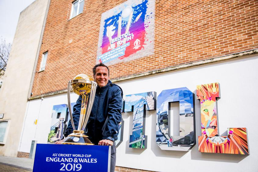 Vaughan helped launch the 'Wickets' mural in Bristol