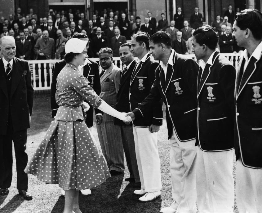 Queen Elizabeth, seen here shaking hands with Vinoo Mankad during the 1952 Test at Lord's, was one of those impressed by his performance that match