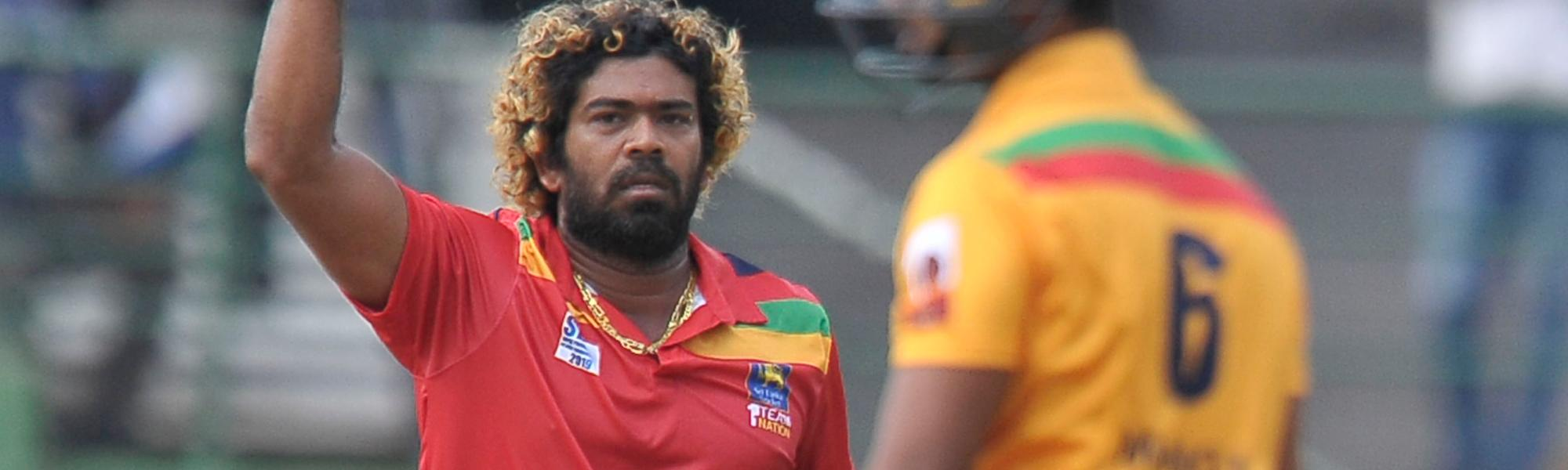 Lasith Malinga celeberates a fall of wicket of his own bowling