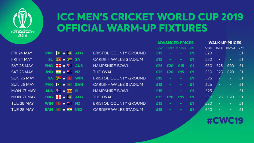 Tickets For Cwc19 Warm Up Fixtures To Go On Sale