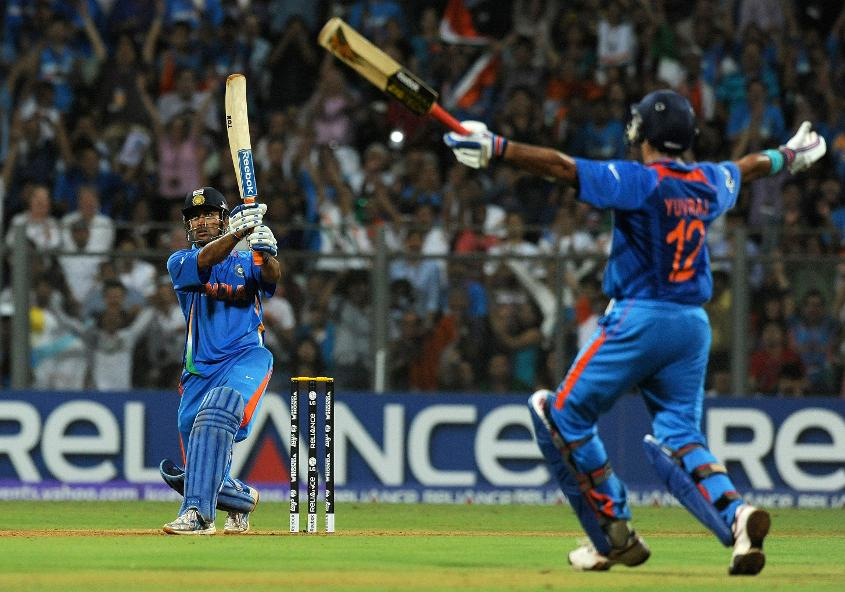 MSD's famous 'helicopter' six in the 49th over helped India secure their second World Cup title