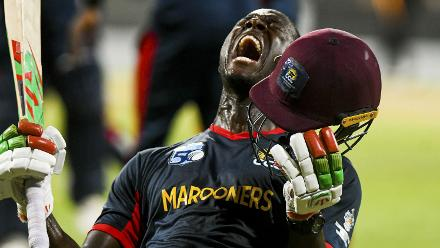 Shortlisted - Kerrie Eversley: Carlos Brathwaite, the Marooners captain, can't contain his excitement after his team secure victory over Guyana Jaguars in the West Indies Super 50 Cup final