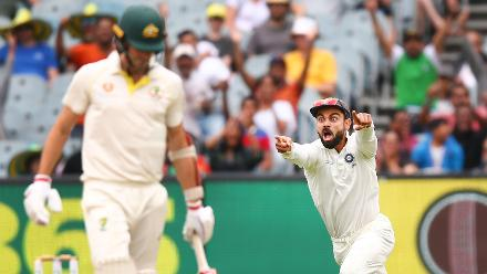 Shortlisted - Michael Dodge: Virat Kohli is jubilant after Pat Cummins falls on the last day of the Melbourne Test, as India close in on a 2-1 series lead