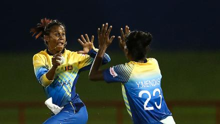 Runner up - Matthew Lewis: Nilakshi de Silva celebrates enthusiastically with Yashoda Mendis after taking catch during the ICC Women's World T20