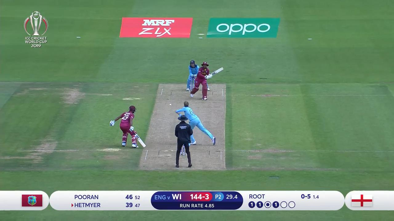 CWC19: ENG v WI - Root gets Hetmyer caught and bowled