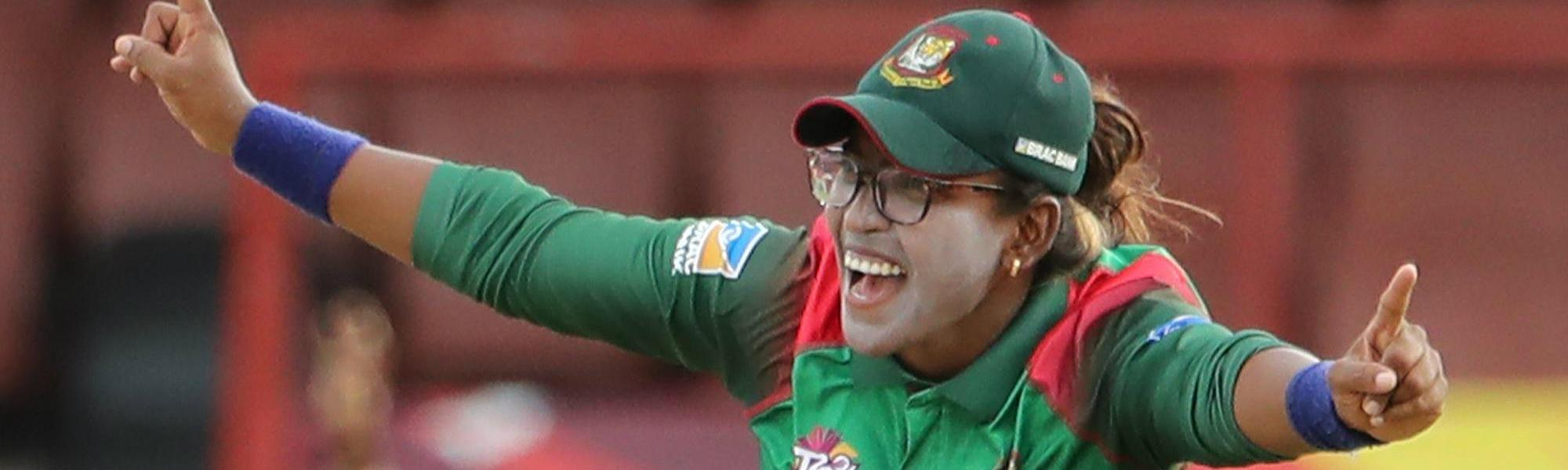 Rumana Ahmed of Bangladesh celebrates during the ICC Women's World T20 warm up match between Bangladesh and Ireland on November 4, 2018 at the Guyana National Stadium in Providence, Guyana.