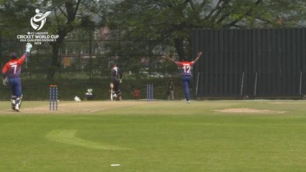 U19 CWC Asia Q Div 1: United Arab Emirates v Nepal – Nepal captain Rohit Kumar Paudel runs out UAE counterpart Aryan Lakra in the first over