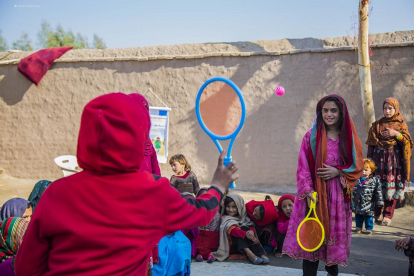 Saima, 12, plays with other girls at a child-friendly space in Nangarhar province, eastern Afghanistan.
