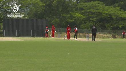 U19 CWC Asia Q Div 1: Oman v Singapore – Vinit Chittesh Mehta of Singapore takes 3/44