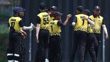 Malaysia team celebrate during the ICC U19 CWC Asia Qualifier – Division 1 match against UAE