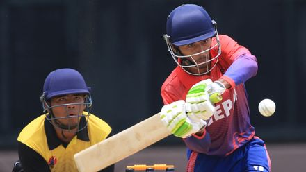 Nepal's Rit Gautam in action during the ICC U19 CWC Asia Qualifier – Division 1 match against Malaysia