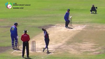 WCL 2: NAM v USA - Namibia's JP Kotze is given out LBW