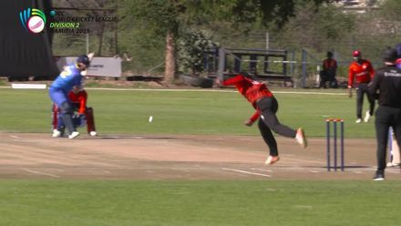 WCL 2:  NAM v CAN – Canada's Navneet Dhaliwal takes a sharp catch off his own bowling
