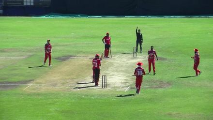 WCL 2:  Hong Kong v Oman - Hong Kong's JJ Atkinson is pinned LBW