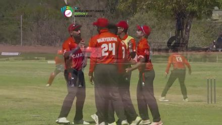 WCL 2: Namibia v Canada - Canada's Nikhil Dutta dismisses Namibia captain Gerhard Erasmus caught and bowled