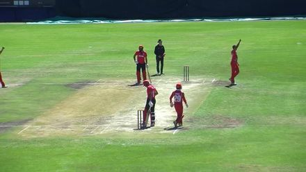 WCL 2: Hong Kong v Oman – Aizaz Khan caught and bowled