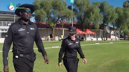 WCL 2, Final: Namibia v Oman – Claire Polosak becomes the first female umpire to officiate a men's ODI