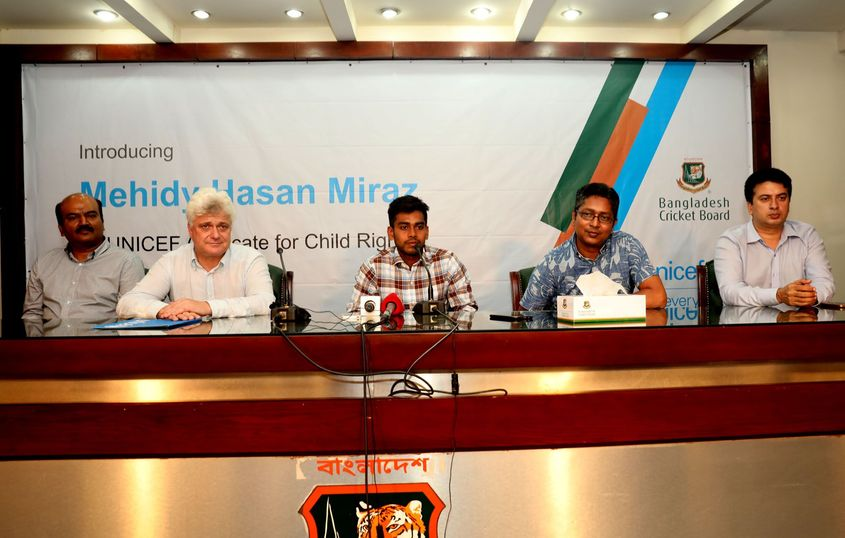 Miraz sits before the press to announce his role with UNICEF