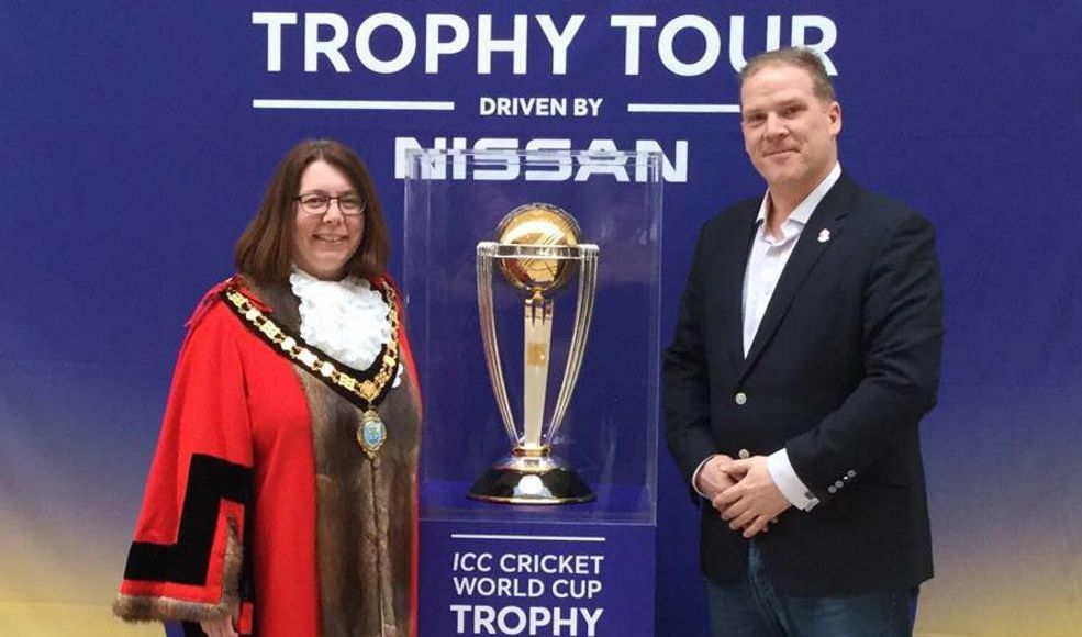 CWC trophy tour with Mayor of Taunton