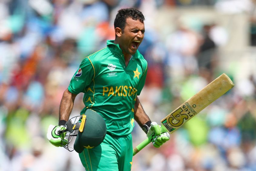 Fakhar Zaman celebrates his CT17 final century