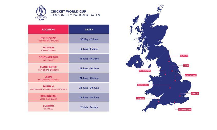8 cities will host CWC19 Fanzones