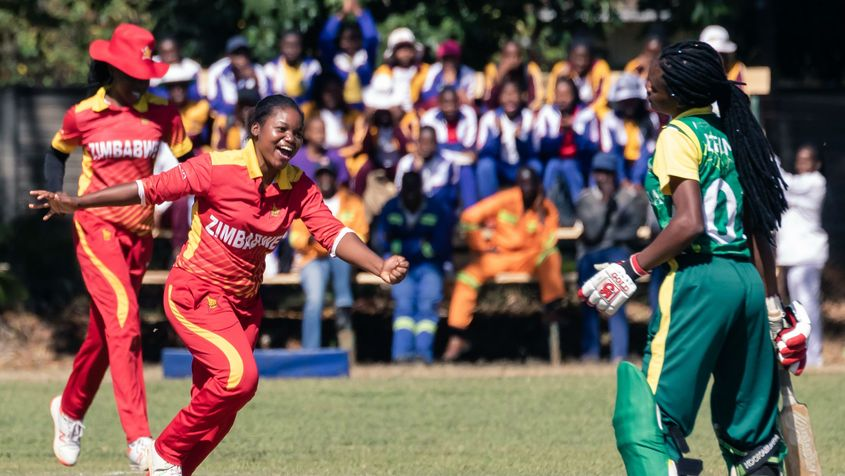 Zimbabwe bowler Anesu Mushangwe  celebrates