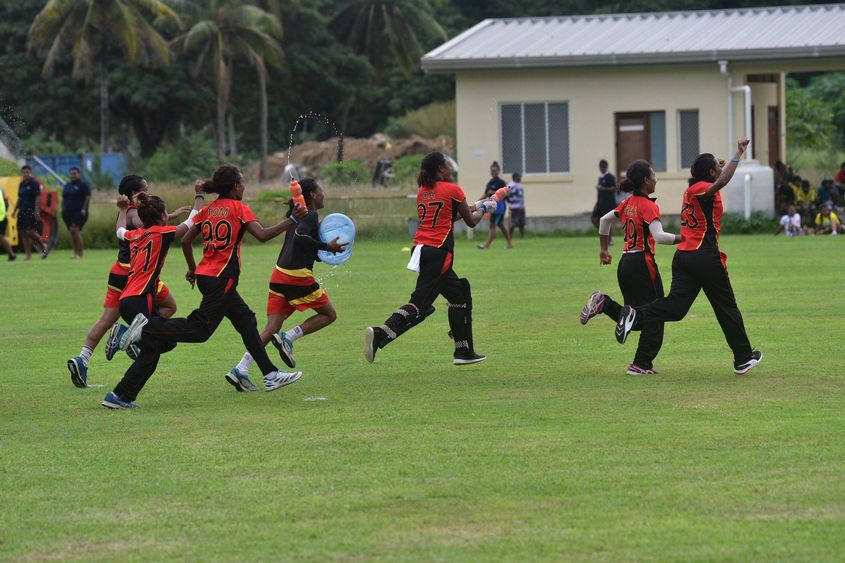 PNG celebrate after winning the Women's Qualifier EAP 2019