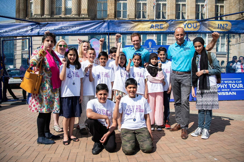 Children from local schools quizzed Nasser Hussain and Eoin Morgan in Birmingham