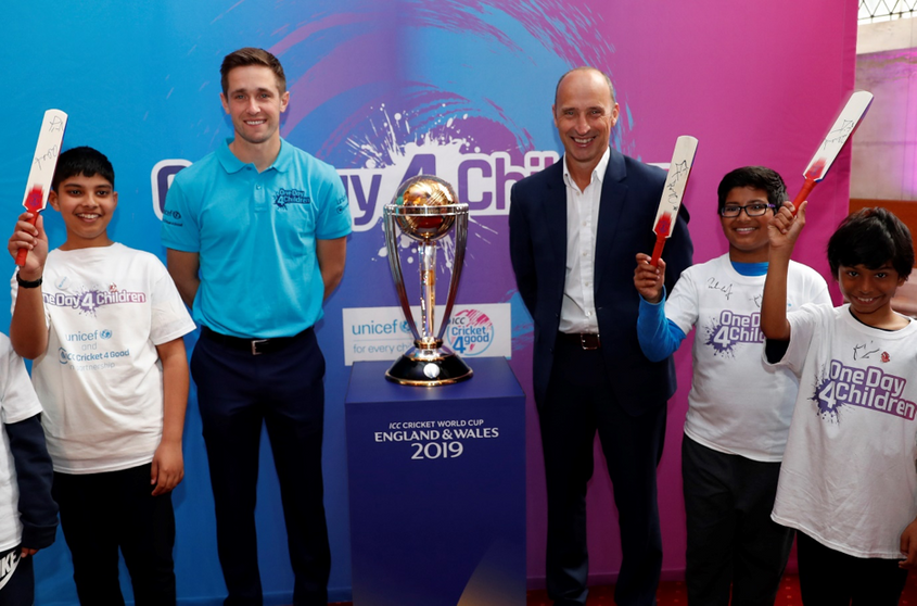 #OneDay4Children ambassador Nasser Hussain and England all-rounder Chris Woakes, launched the tournament-wide campaign