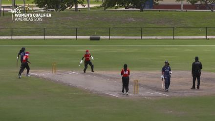 Women's Qualifier, 2019 - Americas: USA v Canada - Match 2 - excellent fielding from Canada for a run-out