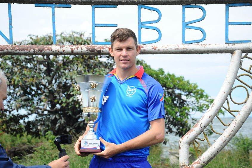 Namibia captain Gerhard Erasmus with the ICC T20 World Cup Africa Final Qualifier trophy
