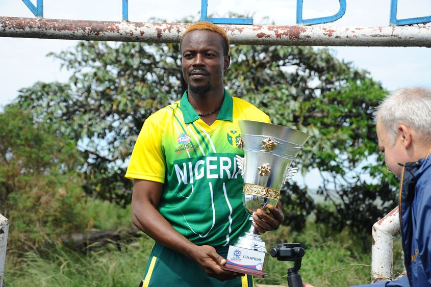 Nigeria captain Ademola Onikoyi with the ICC T20 World Cup Africa Final Qualifier trophy