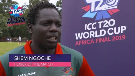 Men's T20 World Cup Africa Final Qualifier: KEN v NGR – POM – Kenya's Shem Ngoche