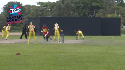 Men's T20WCQ Africa Final: Uganda v Ghana – Brian Masaba runs out Frank Baaleri for eight
